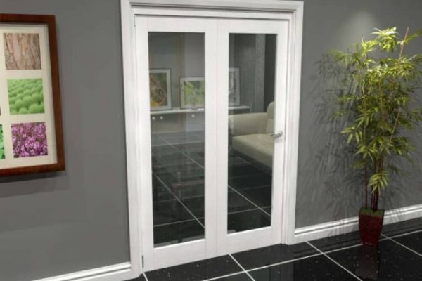 White 2 Panel Bifolding Door with Clear Glass