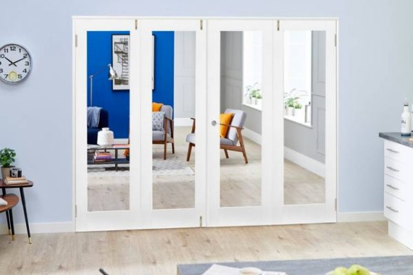 White Interior Folding Doors with Glass UK