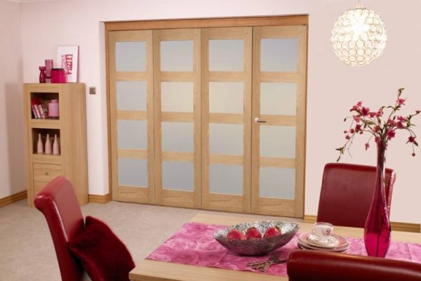 4 Panel Frosted Glass Oak Bifold Doors Internal Living Room to Dining Room