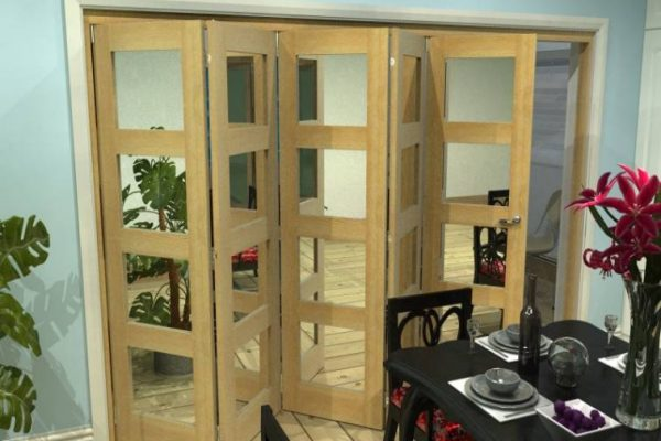 5 Panel Oak Bifold Doors with Glass Panels