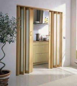 Oak Concertina Doors with Glass Panel