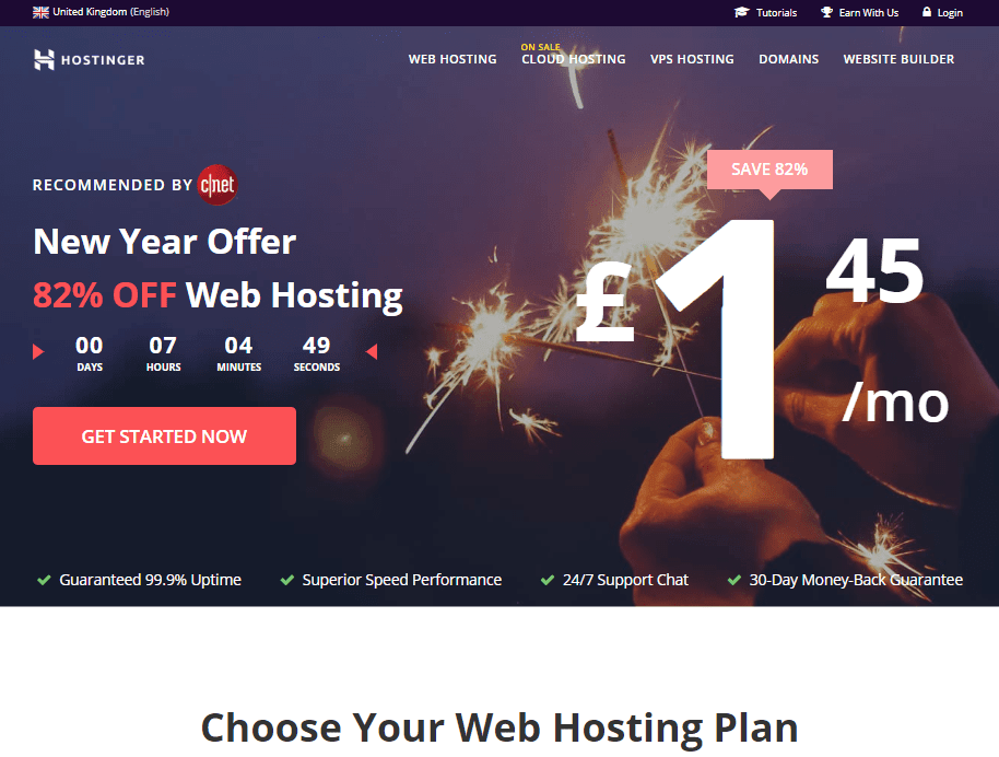 Hostinger provide some of the cheapest website hosting in the UK